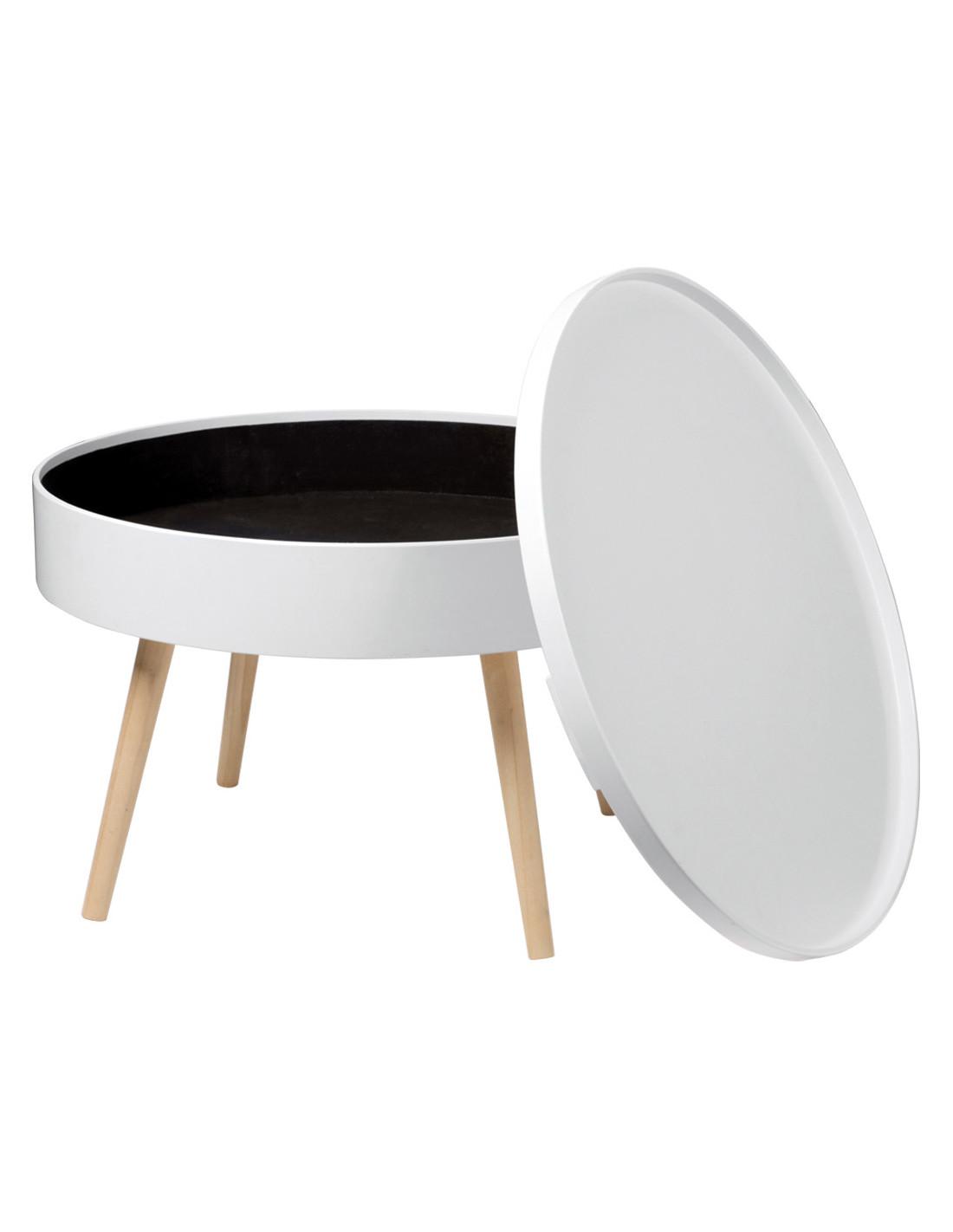 Table Basse Avec Parpaing fornord table basse blanche avec plateau amovible Ø 60 cm x h. 40 cm